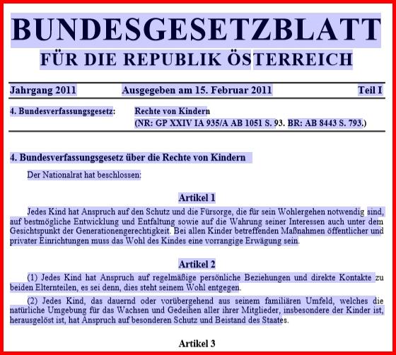 Verfassung Österreich Kinderrechte B-VG BGBl. Rechte von kindern