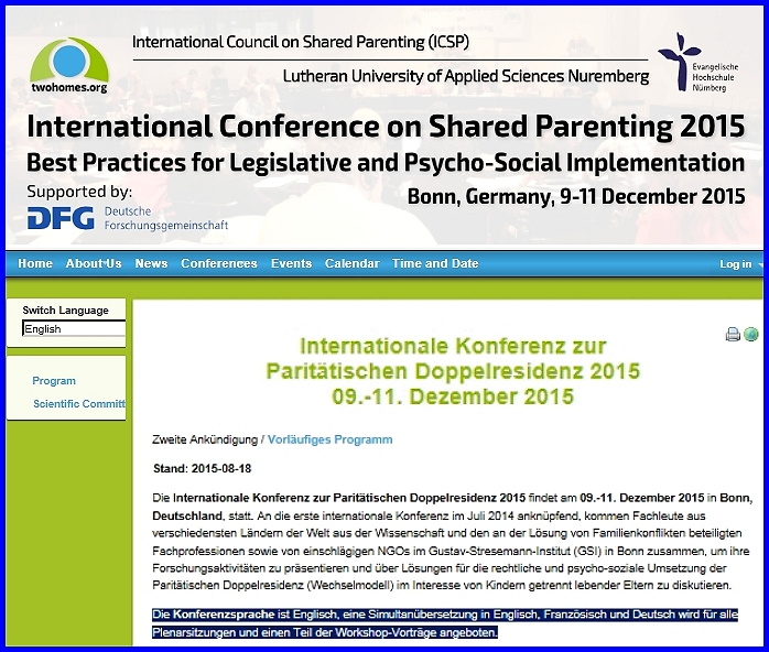 Internationale Konferenz zur Paritätischen Doppelresidenz 2015 (Wechselmodell)