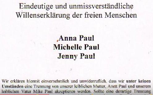 Willenserklärung - Anna Paul - Michelle Paul - Jenny Paul