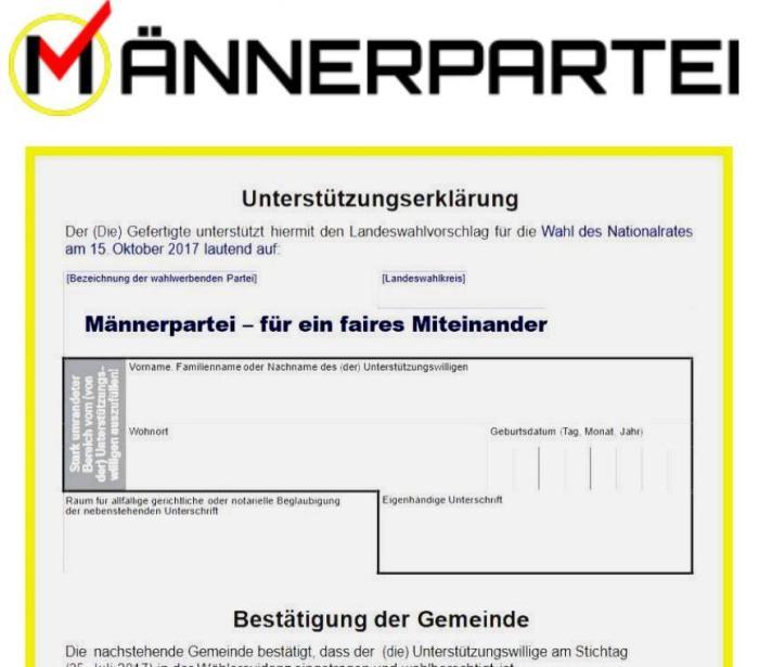 Nationalratswahl 2017 - Männerpartei
