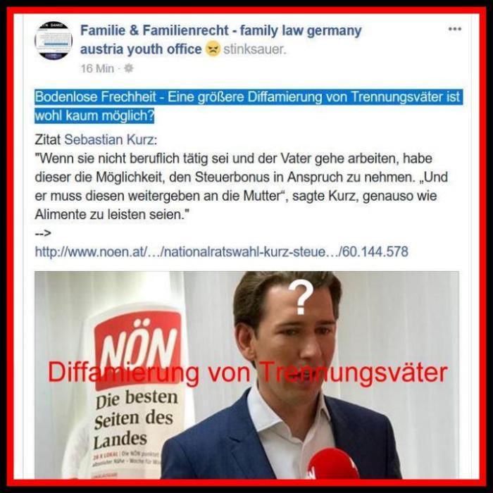 Sebastian Kurz - Diskriminierung , Ausschließung d. Steuerbonus bei Väter nach Trennung