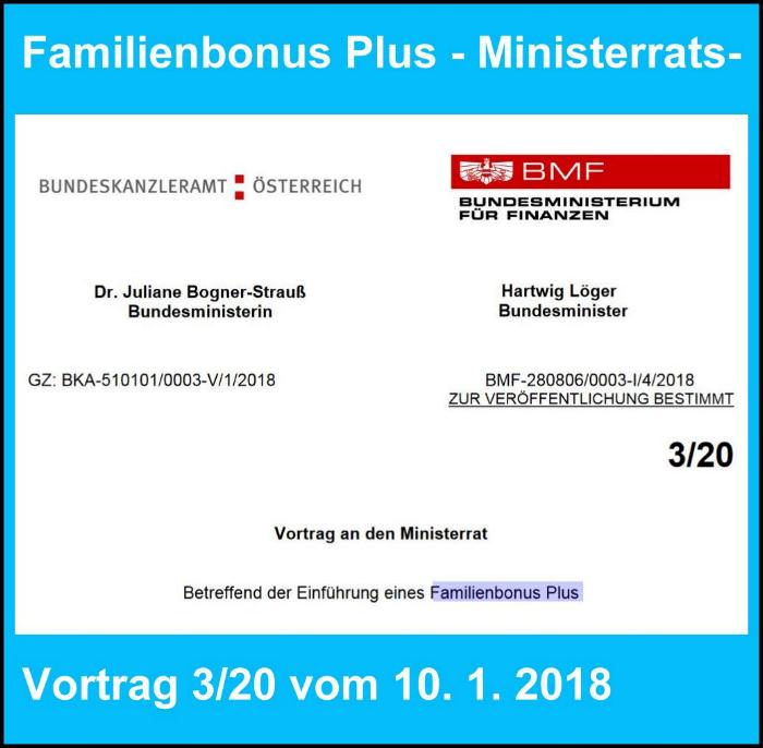 Familienbonus Plus - Ministerratsvorrat BM. Hartwig Löger BM. Dr. Juliane Bogner-Strauß