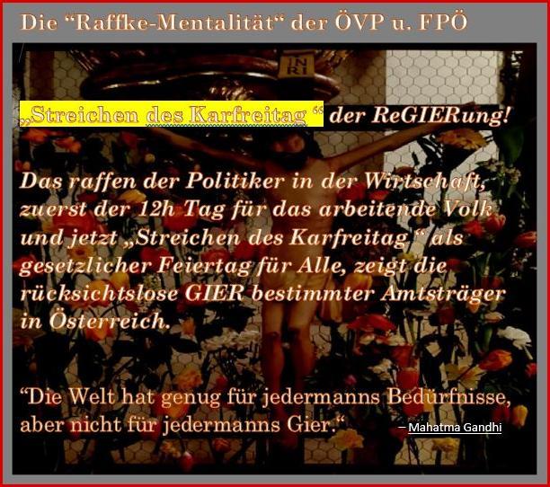 "Karfreitag Feiertag - ""Raffke-Mentalität"" ÖVP u. FPÖ"